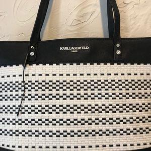 Karl Lagerfeld Bags - Karl Lagerfeld Black and White Raffia Tote